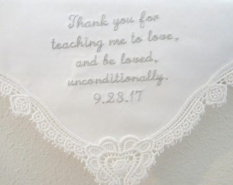 Ivory Embroidered Wedding Handkerchief Mom, Personalized Wedding Hankerchief, Hankerchiefs for Bridal Party, hankerchiefs, moms handkerchief