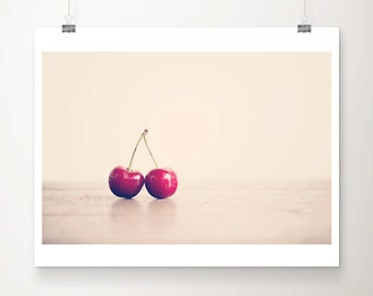 cherry photograph food photography  kitchen wall art cherry print food print cherry art magenta decor red home decor