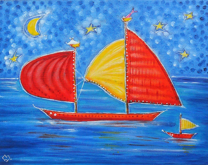 Sailing ships - oil painting on canvas