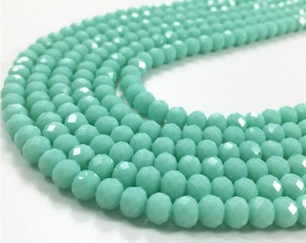 8x6mm Faceted Mint Green Glass Beads, Glass Rondelle Beads