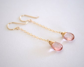 Pink Drop Earrings, Gold Filled, Sterling Silver Available