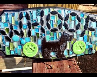 Scottish Terrior Dog  CUSTOM Mosaic wall art key chain or dog leash holder