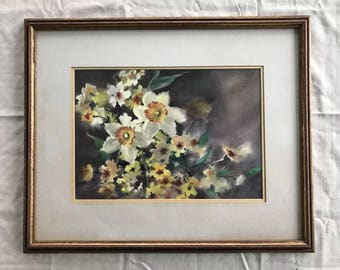 Vtg Original Ruth Baderian Watercolor Painting On paper. Daffodils. NY Artist