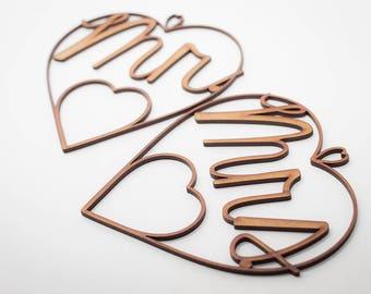 Wood Heart Mr. & Mrs. Wedding rings - Wedding decoration, Chair sign, Wedding ring holder, Wood Design,