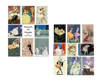 Pierrot On Parade Digital Collage Set