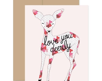 Love You Deerly Card, Valentines Day Card, Sweet Valentines Card, Valentine for Her, Best Valentines Day Card, Deer Valentine, Love Cards