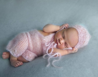 Newborn Romper, Newborn Photo Prop, Mohair Overalls, Lace Bonnet, Baby Hat,  Mohair Bonnet, Knit Romper