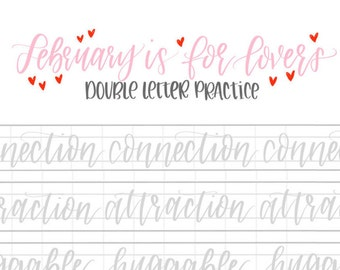 Hand Lettering Practice Sheets | DOUBLE LETTER Words - February | Brush Lettering Challenge | Calligraphy Practice