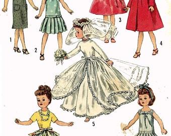 PATTERN 2744 Little Miss Revlon Jill Jan Miss Ginger Doll Clothes for 10 inch Dolls by Ideal Bridal Gown Veil Dress Drop Waist Pleated Skirt