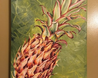 Ornamental Pineapple Original Acrylic Painting OR Print on Canvas still life kitchen decor art in red and green