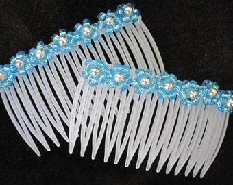 Beaded Hair Combs, Sky Blue and Silver, Floral Seed Beads, Hair Accessories, Summer Flowers for Your Hair, for Curly Hair