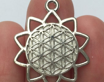 4 Flower of Life Charms Silver Tone 29 x 35mm - SC855