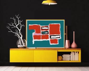 Large Art Print, Fine art print, Blue Wall Art prints, Modern Art Print, Abstract art print, Digital Art Print, Geometric art