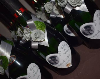 bottle of champagne wedding dress