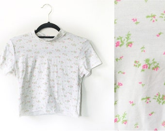 Babydoll  Ditsy Floral Crop Top 90s Inspired Made to Order Vintage Fabric Stretches Soft Mock Collar