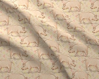 Hogs + Dots Fabric - Hog And Bubbles By Eclectic House - Watercolor Farm Animal Nursery Decor Cotton Fabric By The Yard With Spoonflower