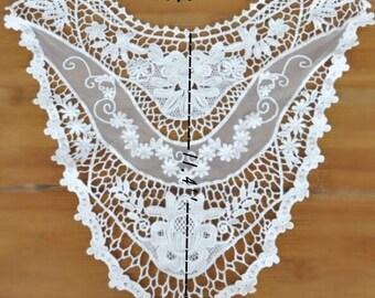White Collar, Vintage Appliques Cotton Hollowed Embroidery Collar Fashion Costume Decoration Appliques. 1pcs E8034