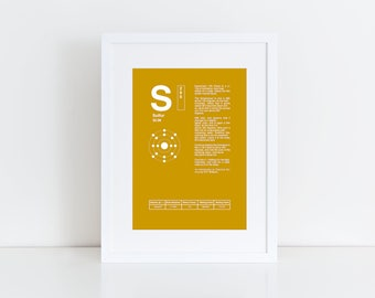 gift for new student, periodic table, sulfur, chemistry gift, dictionary art print, gifts for teachers, gifts for scientist, science art