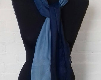 Vintage sheer blue scarf with imperfections