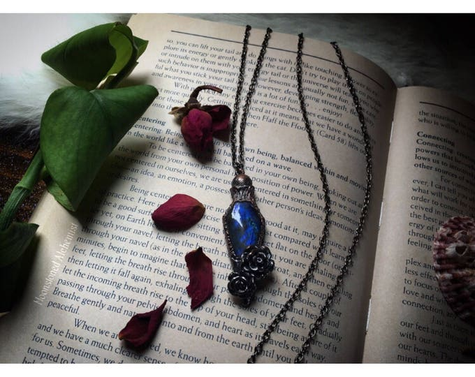 Labradorite Crystal Potion Vial necklace - Sweet Dreams Elixir amulet with roses set in copper - sculpted ooak pendulum sweet