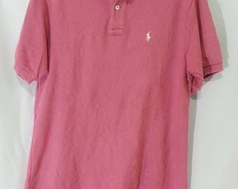 Vintage 90s Polo By Ralph Lauren Shirt Short Sleeve Pink colour Large Size
