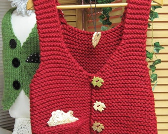 Adult's Pocket Points Vest Bulky Yarn  Knitting Pattern Small Medium and Large