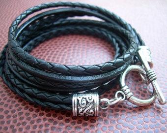 Womens Braided Leather Bracelets, Womens Bracelets Leather, Leather Bracelets, Womens Bracelets, Black, Leather Wrap Bracelet, Womens,