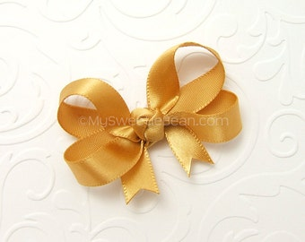 Gold Baby Bow, Satin Hair Bow for Baby Girls, 2 inch Satin Bow, Infant Hair Bow Choose Color, Tails Down Bow for newborn baby, toddler girls