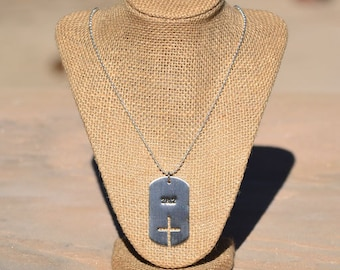 26.2 with Cross Dog Tag Necklace, Marathon Cross Dog Tag, Gift Idea for Christian Marathon Runners, Brushed Nickel + Free Shipping
