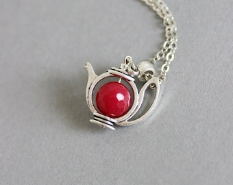 Ruby Teapot Pendant, Teapot Necklace,Teapot Pendant, Teapot Jewelry, Cute Pendant,For Tea Lovers, Gift for Mom, Ruby Pendant, Silver Teapot