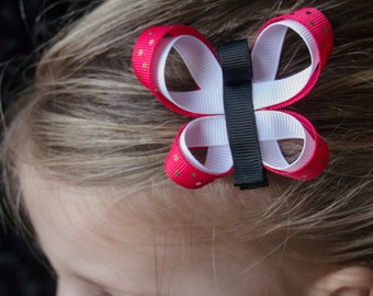 Hair Bow - Hot Pink and White Butterfly Ribbon Sculpture