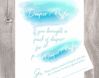 Watercolor Diaper raffle sign and tickets, watercolor blue printable diaper raffle cards and sign, INSTANT DOWNLOAD, boy baby shower