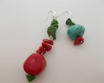 mismatched earrings/dangle earrings/southwestern style earrings/red and turquoise earrings/recycled stones