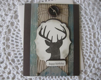 Handmade Greeting Card: Happy Birthday (Hunting Themed/Stamped Deer)