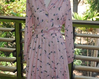 Classic 1970's Large Pink Floral Secretary Dress