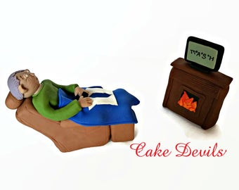 Man in Recliner Cake Topper, Retirement Cake Topper, Fondant Handmade Edible Chair, Dad, brother, husband, son, birthday cake, father's day