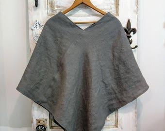 Linen Poncho | Washed Linen Poncho | Maria Poncho | The Wild Raspberry | Boho Women's Clothing