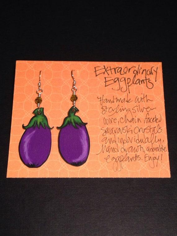 """Earrings """"Extraordinary Eggplants"""""""