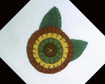 Handmade Penny Felt Brooch Pin in Fall Colors of Brown, Gold and Olive