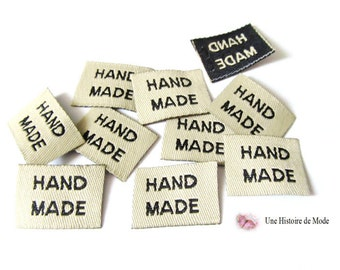 """Set of 10 sewing inscribed """"HAND MADE"""" 20 x 15 mm"""