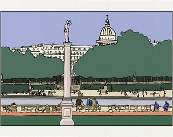 Basin of the Luxembourg - Illustration Paris - printed on fine art paper