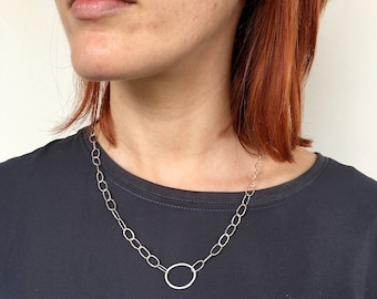 Handmade hammered silver Odd Fellows chain with easy Olga clasp - handmade silver chain - hand forged jewelry - pebble necklace