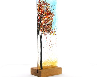 Fused Glass Autumn Tree, wood stand, Gift, Glass Art, free standing, tree