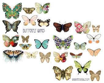 Butterfly Wings Digital Collage Set