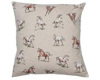 Horses Countryside Animal Print Cushion Cover