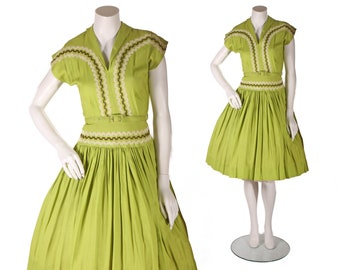 1950s Chartreuse Green Short Sleeve Drop Waist Brown and White Ric Rac Zig Zag Embroidery Patio Western Dress -S