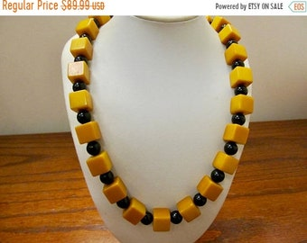 On Sale Vintage Mustard Yellow Bakelite and Black Beaded Necklace Item K # 1224