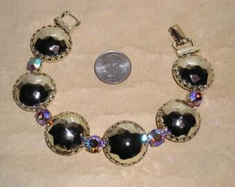 Vintage Coro Iridescent Rhinestone Bracelet With Gold Chrome Cabochons 1960's Signed Jewelry 3002