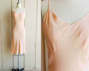 1940s Barbizon Peach Pink Rayon Full Slip   Vintage 40s Bias Cut Slip Dress   Women's Lingerie Medium 36