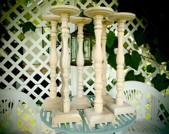 """Lathe-turned Wooden 25 Inch """"Symphony in Symmetry"""" - Unfinished Wedding Floral Stand - Set of 6 - Made in USA"""